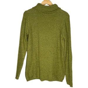 Sundance Marled Green Ribbed Knit Turtleneck Sweater Size Medium